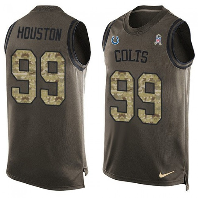 Nike Colts #99 Justin Houston Green Men's Stitched NFL Limited Salute To Service Tank Top Jersey