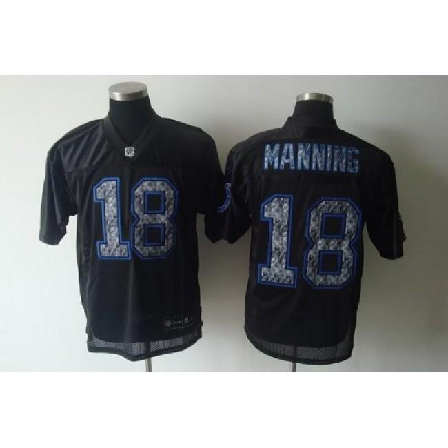 Sideline Black United Colts #18 Peyton Manning Black Stitched NFL Jersey