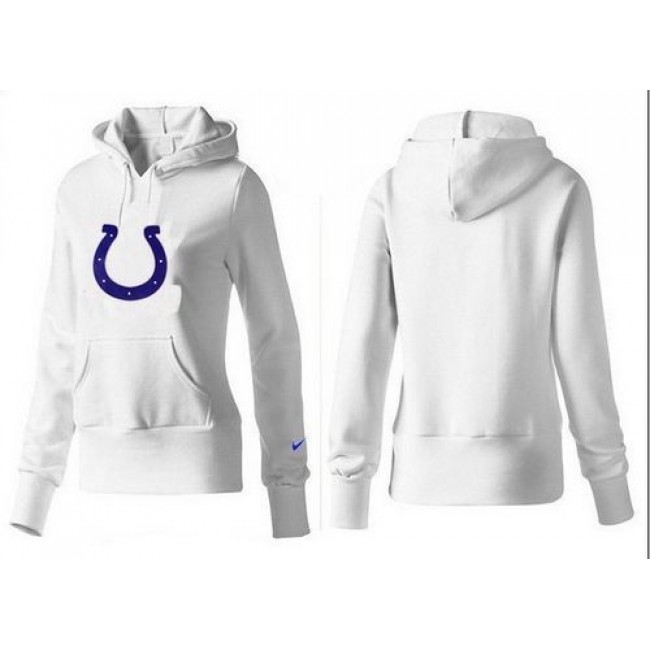 Women's Indianapolis Colts Logo Pullover Hoodie White Jersey