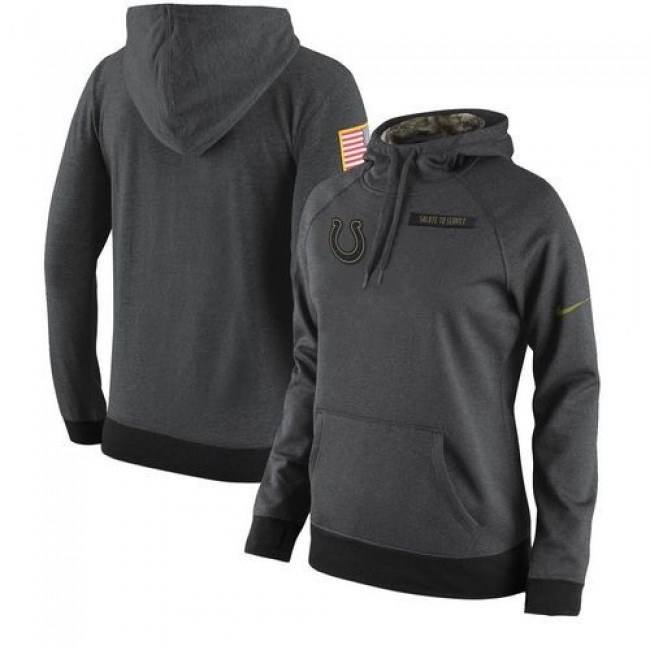 Women's Indianapolis Colts Anthracite Salute to Service Player Hoodie Jersey