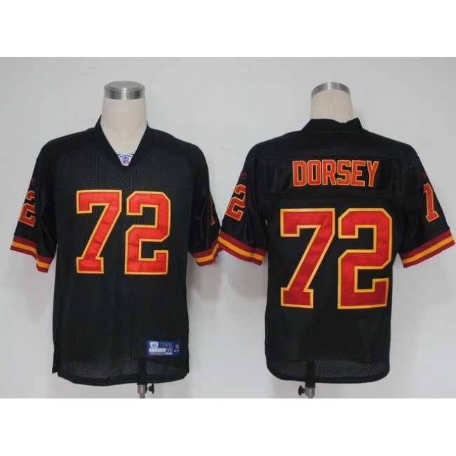 Chiefs #72 Glenn Dorsey Black Stitched NFL Jersey