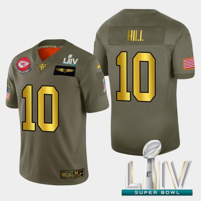 Kansas City Chiefs #10 Tyreek Hill Men's Nike Olive Gold Super Bowl LIV 2020 2019 Salute to Service Limited NFL 100 Jersey