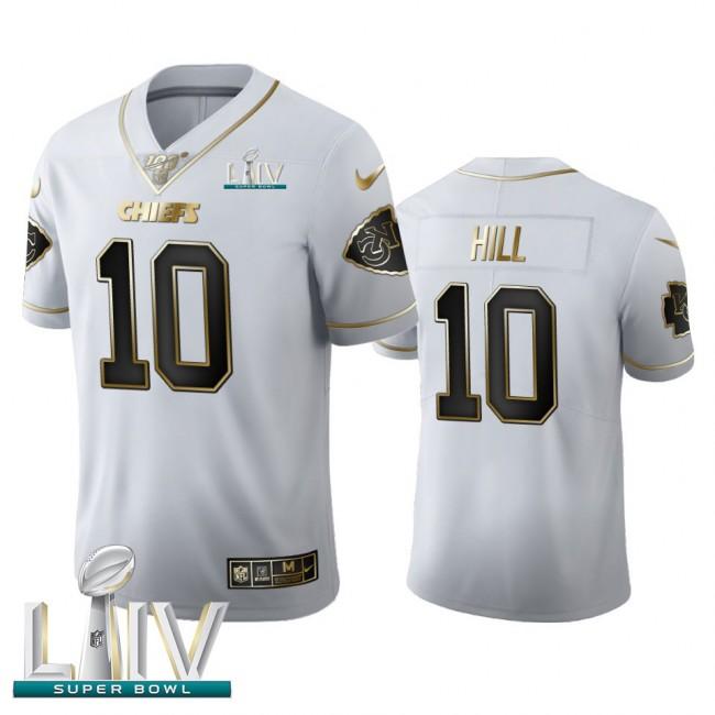 Kansas City Chiefs #10 Tyreek Hill Men's Nike White Golden Super Bowl LIV 2020 Edition Vapor Limited NFL 100 Jersey