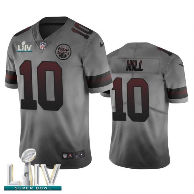 Kansas City Chiefs #10 Tyreek Hill Smoky Gray Super Bowl LIV 2020 Men's Nike Vapor Limited City Edition NFL Jersey