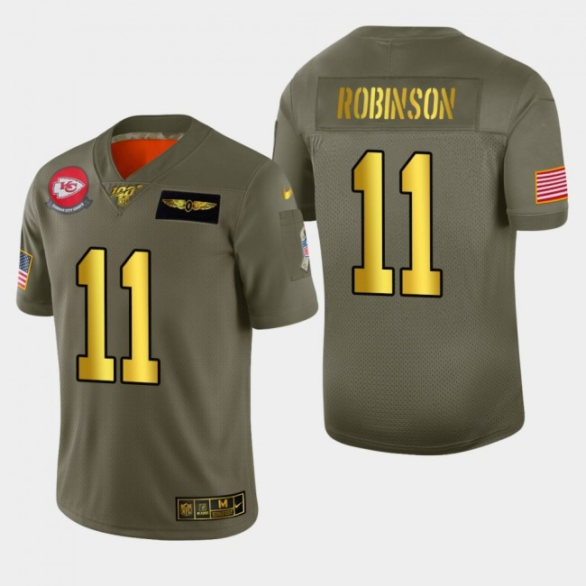 Kansas City Chiefs #11 Demarcus Robinson Men's Nike Olive Gold 2019 Salute to Service Limited NFL 100 Jersey