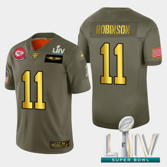 Kansas City Chiefs #11 Demarcus Robinson Men's Nike Olive Gold Super Bowl LIV 2020 2019 Salute to Service Limited NFL 100 Jersey