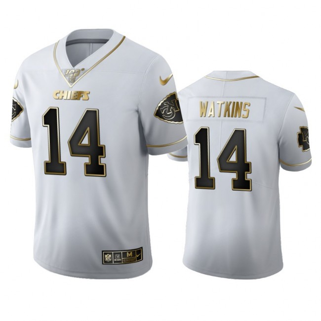 Kansas City Chiefs #14 Sammy Watkins Men's Nike White Golden Edition Vapor Limited NFL 100 Jersey