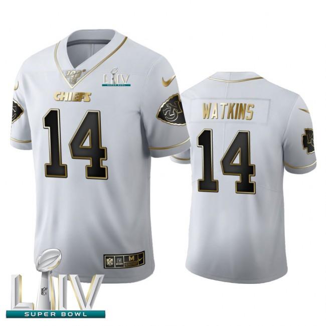 Kansas City Chiefs #14 Sammy Watkins Men's Nike White Golden Super Bowl LIV 2020 Edition Vapor Limited NFL 100 Jersey