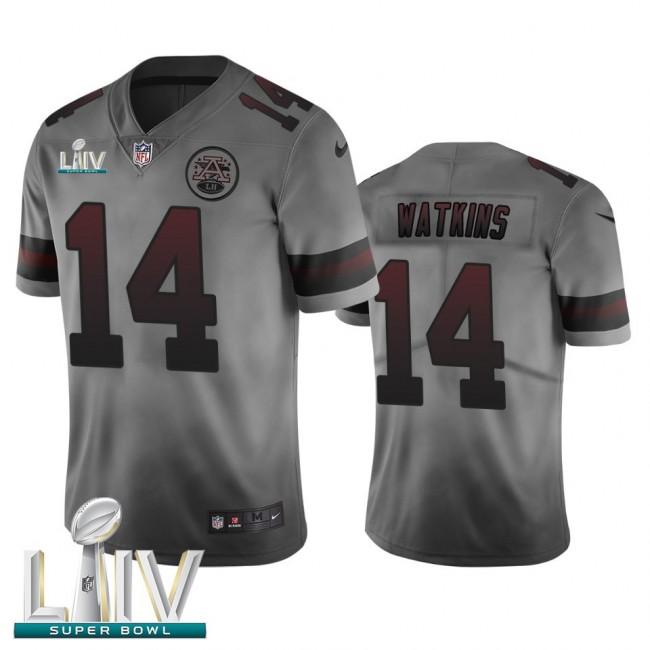 Kansas City Chiefs #14 Sammy Watkins Smoky Gray Super Bowl LIV 2020 Men's Nike Vapor Limited City Edition NFL Jersey
