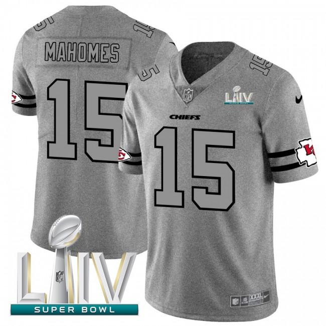Kansas City Chiefs #15 Patrick Mahomes Men's Nike Gray Super Bowl LIV 2020 Gridiron II Vapor Untouchable Limited NFL Jersey