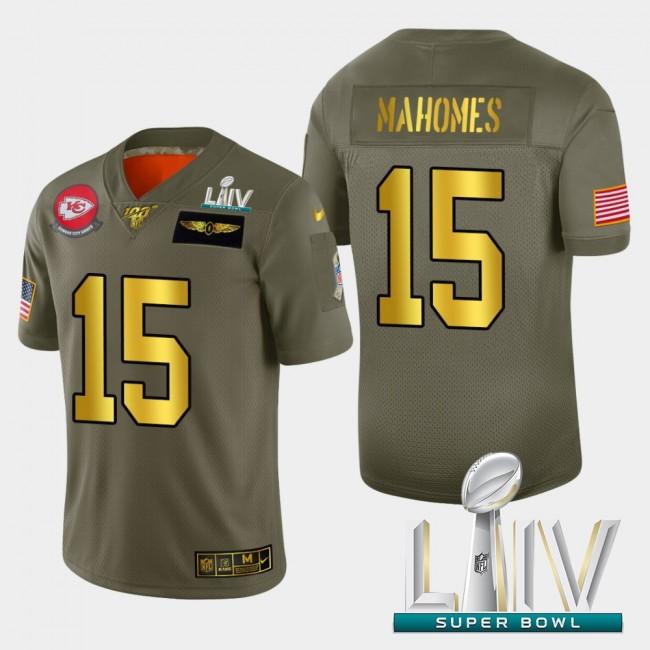 Kansas City Chiefs #15 Patrick Mahomes Men's Nike Olive Gold Super Bowl LIV 2020 2019 Salute to Service Limited NFL 100 Jersey