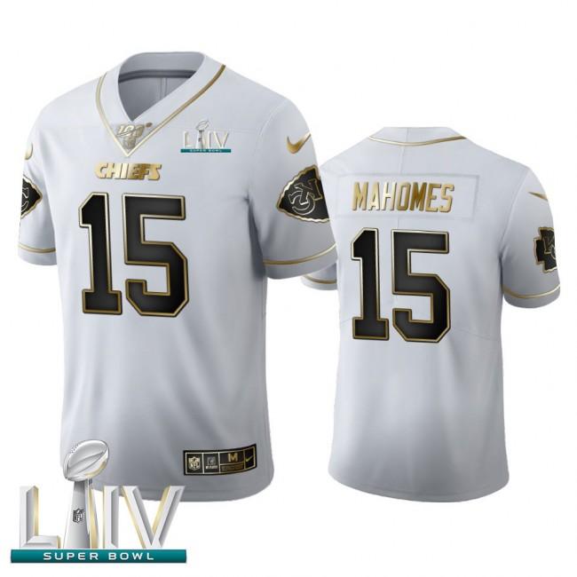 Kansas City Chiefs #15 Patrick Mahomes Men's Nike White Golden Super Bowl LIV 2020 Edition Vapor Limited NFL 100 Jersey