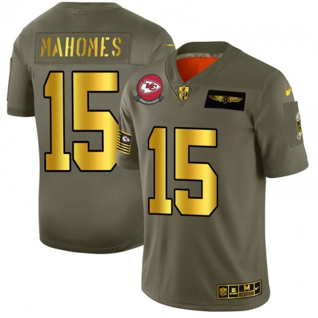 Kansas City Chiefs #15 Patrick Mahomes NFL Men's Nike Olive Gold 2019 Salute to Service Limited Jersey