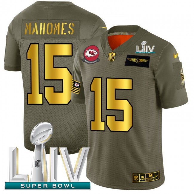 Kansas City Chiefs #15 Patrick Mahomes NFL Men's Nike Olive Gold Super Bowl LIV 2020 2019 Salute to Service Limited Jersey