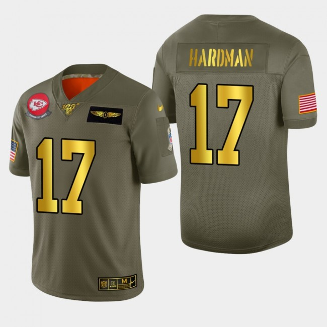 Kansas City Chiefs #17 Mecole Hardman Men's Nike Olive Gold 2019 Salute to Service Limited NFL 100 Jersey
