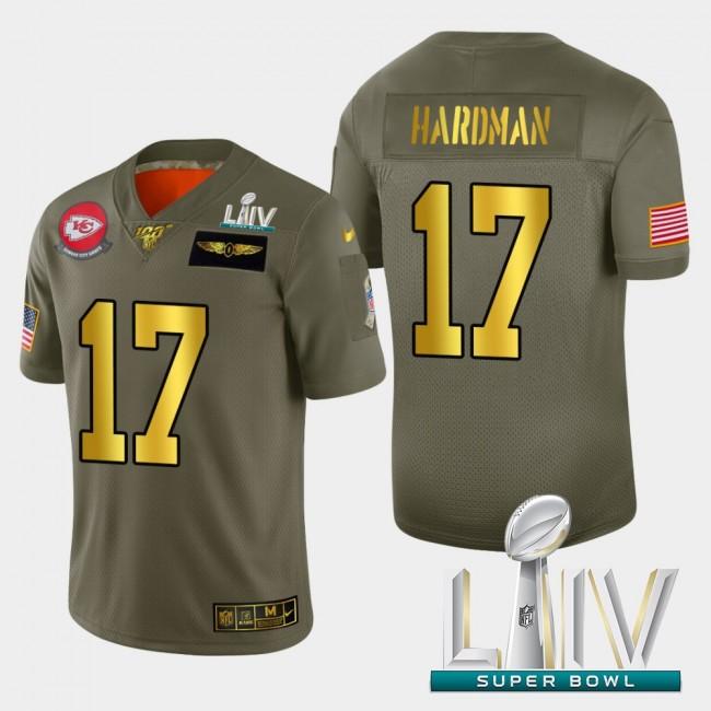 Kansas City Chiefs #17 Mecole Hardman Men's Nike Olive Gold Super Bowl LIV 2020 2019 Salute to Service Limited NFL 100 Jersey