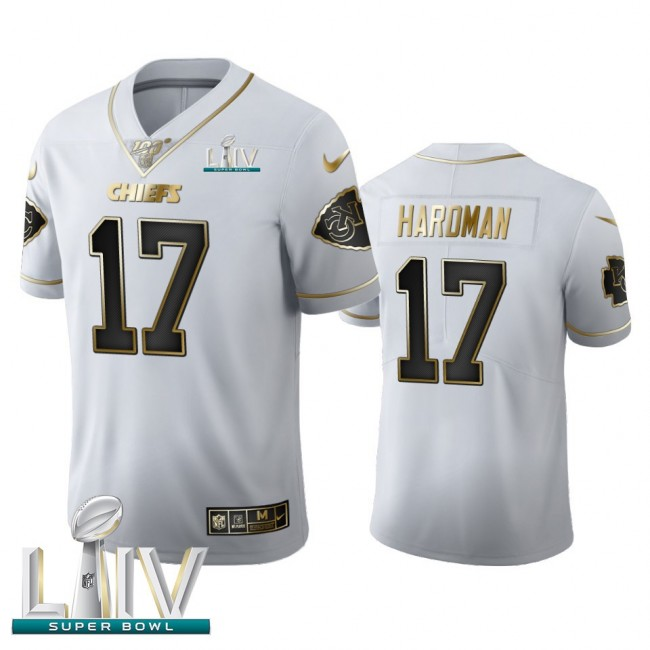 Kansas City Chiefs #17 Mecole Hardman Men's Nike White Golden Super Bowl LIV 2020 Edition Vapor Limited NFL 100 Jersey