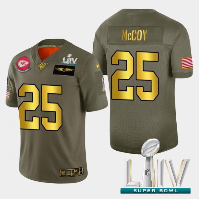 Kansas City Chiefs #25 LeSean McCoy Men's Nike Olive Gold Super Bowl LIV 2020 2019 Salute to Service Limited NFL 100 Jersey