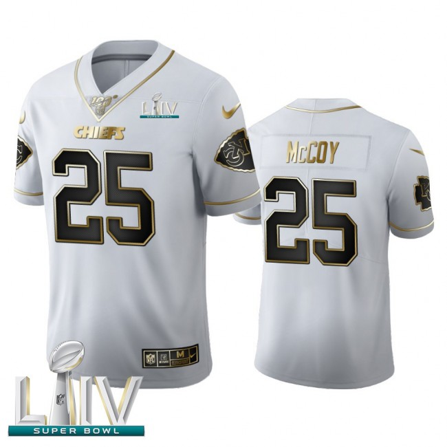 Kansas City Chiefs #25 LeSean McCoy Men's Nike White Golden Super Bowl LIV 2020 Edition Vapor Limited NFL 100 Jersey