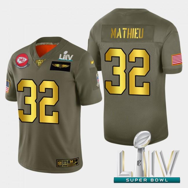 Kansas City Chiefs #32 Tyrann Mathieu Men's Nike Olive Gold Super Bowl LIV 2020 2019 Salute to Service Limited NFL 100 Jersey