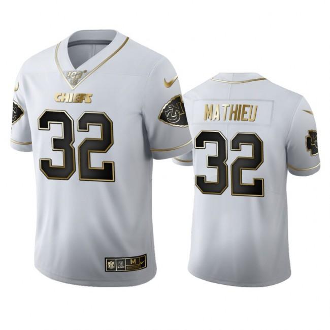 Kansas City Chiefs #32 Tyrann Mathieu Men's Nike White Golden Edition Vapor Limited NFL 100 Jersey