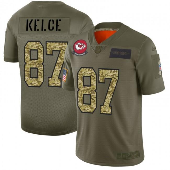 Kansas City Chiefs #87 Travis Kelce Men's Nike 2019 Olive Camo Salute To Service Limited NFL Jersey