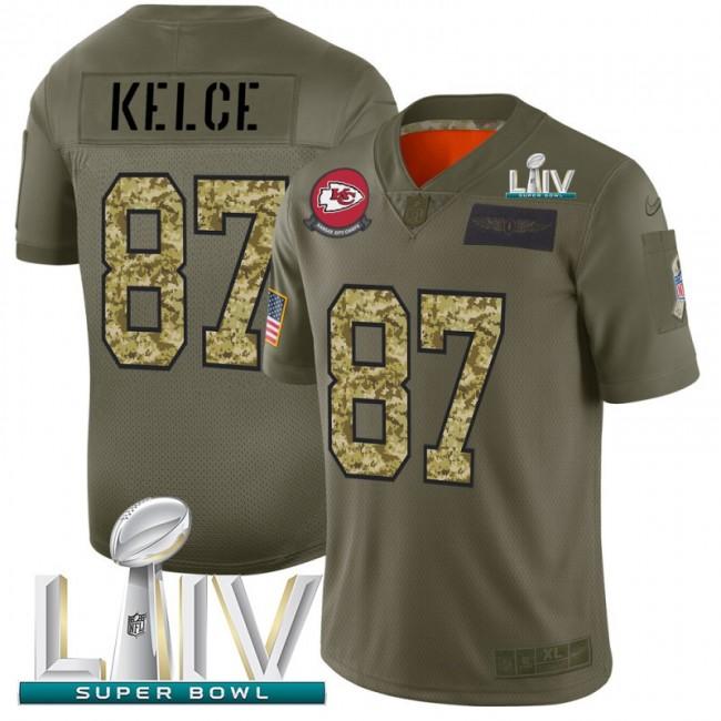 Kansas City Chiefs #87 Travis Kelce Men's Nike 2019 Olive Camo Super Bowl LIV 2020 Salute To Service Limited NFL Jersey