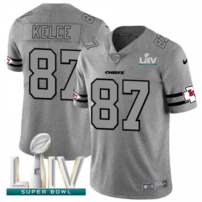 Kansas City Chiefs #87 Travis Kelce Men's Nike Gray Super Bowl LIV 2020 Gridiron II Vapor Untouchable Limited NFL Jersey