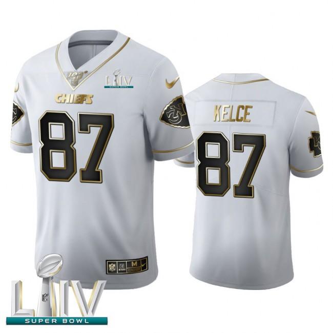 Kansas City Chiefs #87 Travis Kelce Men's Nike White Golden Super Bowl LIV 2020 Edition Vapor Limited NFL 100 Jersey