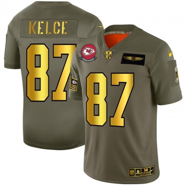 Kansas City Chiefs #87 Travis Kelce NFL Men's Nike Olive Gold 2019 Salute to Service Limited Jersey