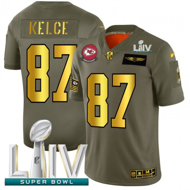 Kansas City Chiefs #87 Travis Kelce NFL Men's Nike Olive Gold Super Bowl LIV 2020 2019 Salute to Service Limited Jersey