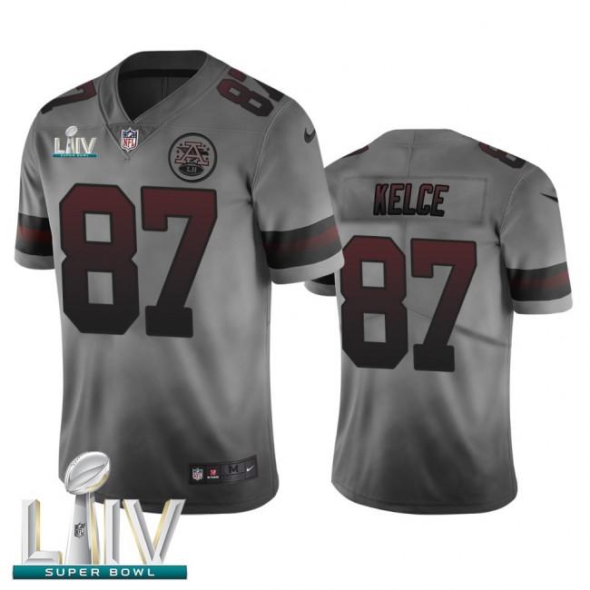 Kansas City Chiefs #87 Travis Kelce Smoky Gray Super Bowl LIV 2020 Men's Nike Vapor Limited City Edition NFL Jersey