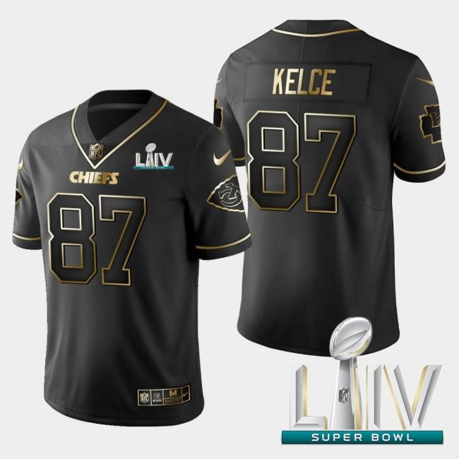 Kansas City Chiefs #87 Travis Kelce Vapor Limited Black Golden Super Bowl LIV 2020 Jersey