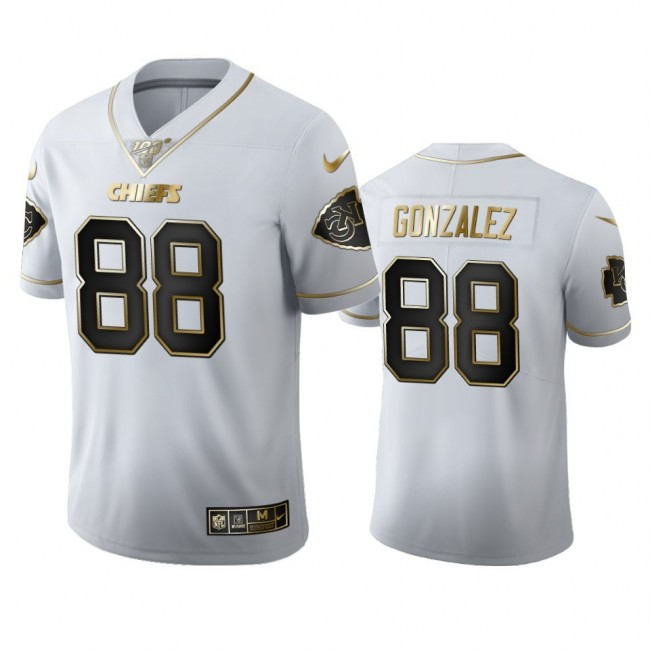 Kansas City Chiefs #88 Tony Gonzalez Men's Nike White Golden Edition Vapor Limited NFL 100 Jersey