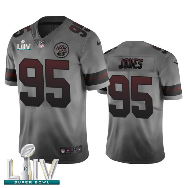 Kansas City Chiefs #95 Chris Jones Smoky Gray Super Bowl LIV 2020 Men's Nike Vapor Limited City Edition NFL Jersey