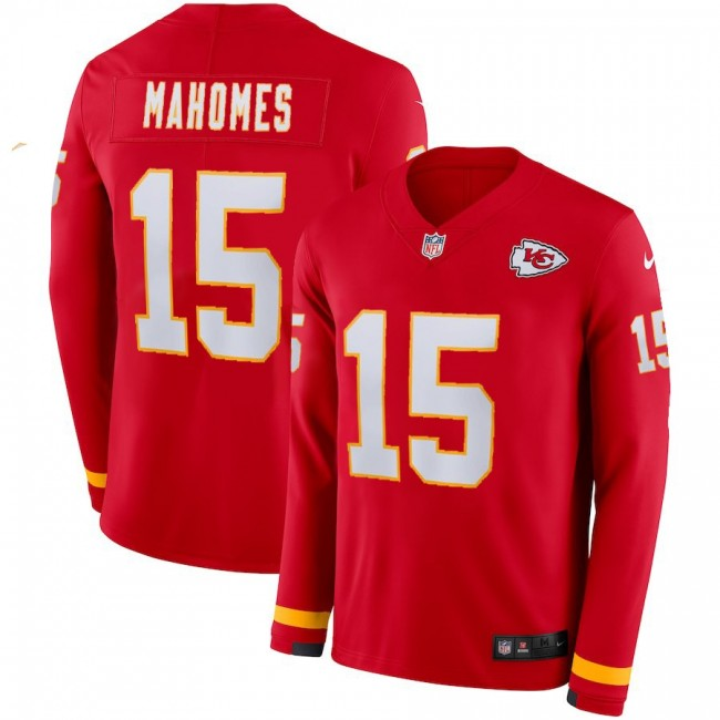 Men's Chiefs #15 Patrick Mahomes Red Team Color Men's Stitched NFL Limited Therma Long Sleeve Jersey