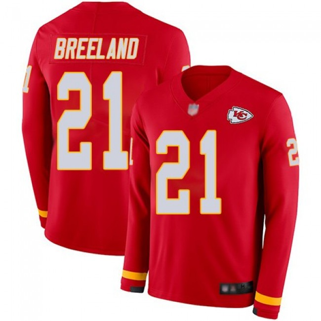 Men's Chiefs #21 Bashaud Breeland Red Team Color Men's Stitched NFL Limited Therma Long Sleeve Jersey