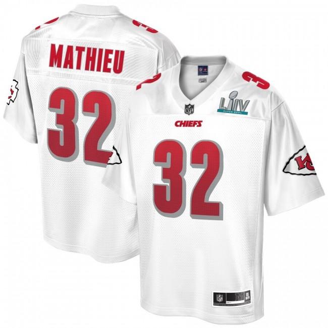Men's Kansas City Chiefs #32 Tyrann Mathieu NFL Pro Line White Super Bowl LIV Champions Jersey