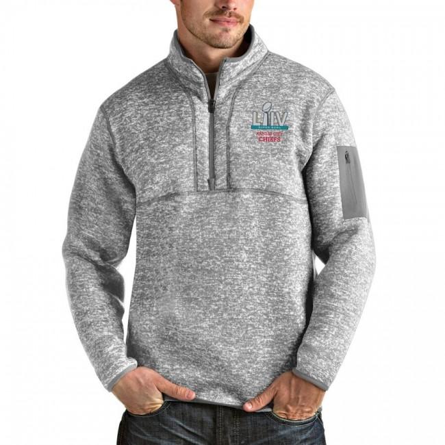 Men's Kansas City Chiefs NFL Heather Gray Super Bowl LIV Bound Fortune Quarter-Zip Pullover Jacket