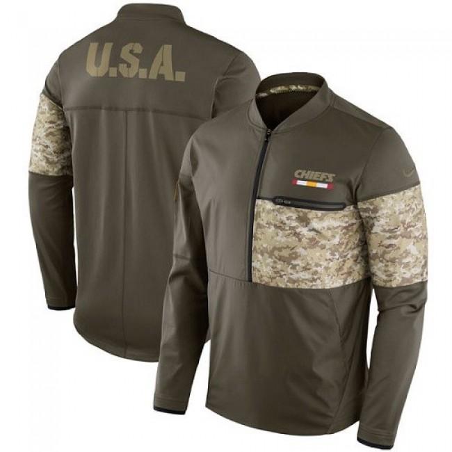 Men's Kansas City Chiefs Nike Olive Salute to Service Sideline Hybrid Half-Zip Pullover Jacket