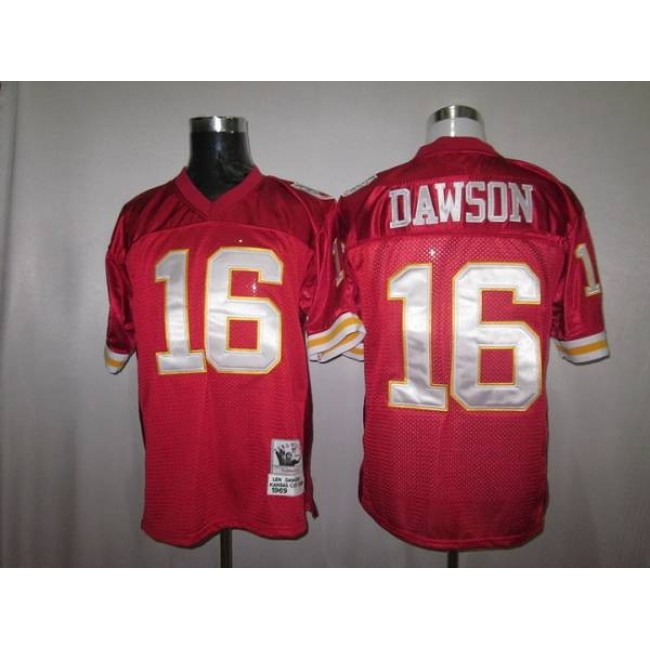 Mitchell And Ness Chiefs #16 Len Dawson Red Stitched Throwback NFL Jersey