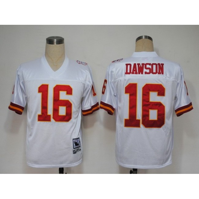 Mitchell And Ness Chiefs #16 Len Dawson White Stitched Throwback NFL Jersey
