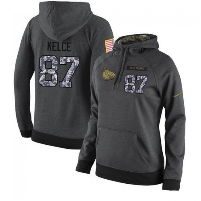 Women's NFL Kansas City Chiefs #87 Travis Kelce Stitched Black Anthracite Salute to Service Player Hoodie Jersey