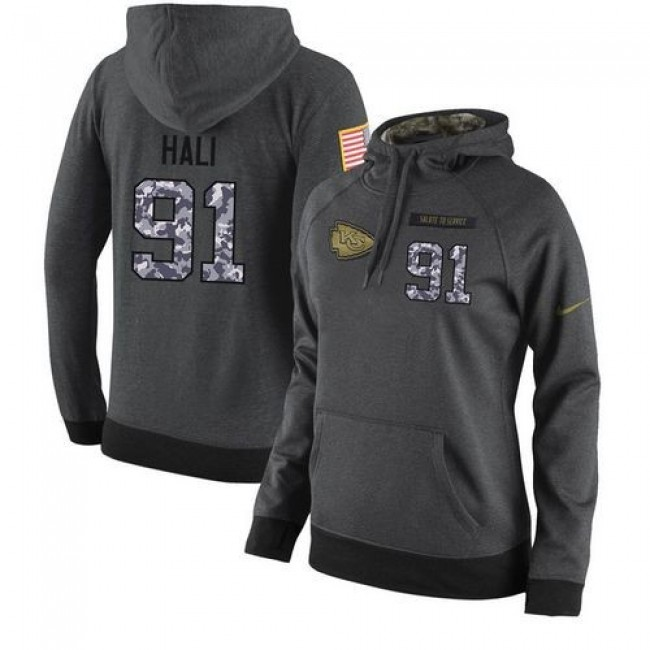 Women's NFL Kansas City Chiefs #91 Tamba Hali Stitched Black Anthracite Salute to Service Player Hoodie Jersey