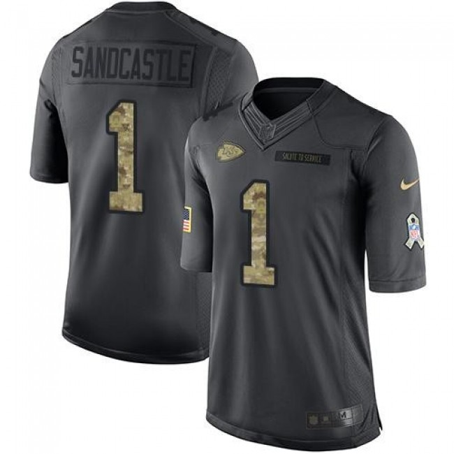 Nike Chiefs #1 Leon Sandcastle Black Men's Stitched NFL Limited 2016 Salute to Service Jersey