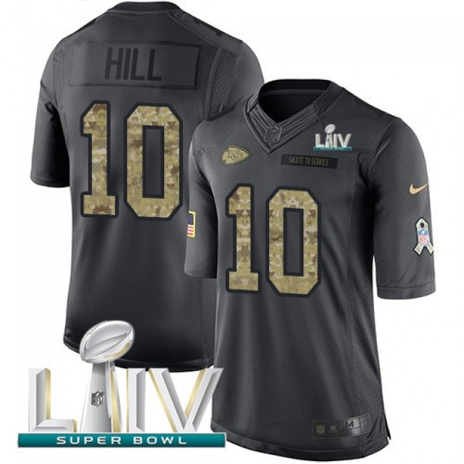 Nike Chiefs #10 Tyreek Hill Black Super Bowl LIV 2020 Men's Stitched NFL Limited 2016 Salute to Service Jersey