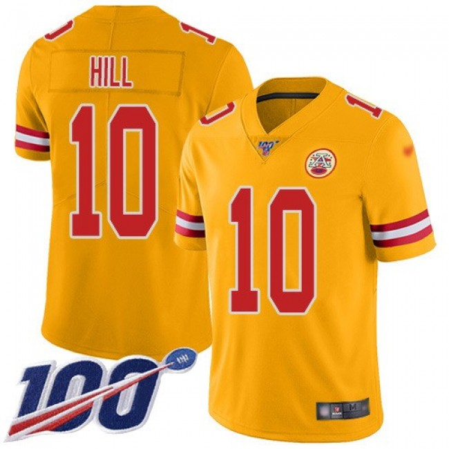 Nike Chiefs #10 Tyreek Hill Gold Men's Stitched NFL Limited Inverted Legend 100th Season Jersey
