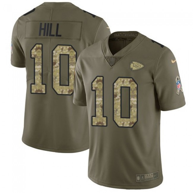 Kansas City Chiefs #10 Tyreek Hill Olive-Camo Youth Stitched NFL Limited 2017 Salute to Service Jersey