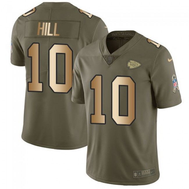 Nike Chiefs #10 Tyreek Hill Olive/Gold Men's Stitched NFL Limited 2017 Salute To Service Jersey