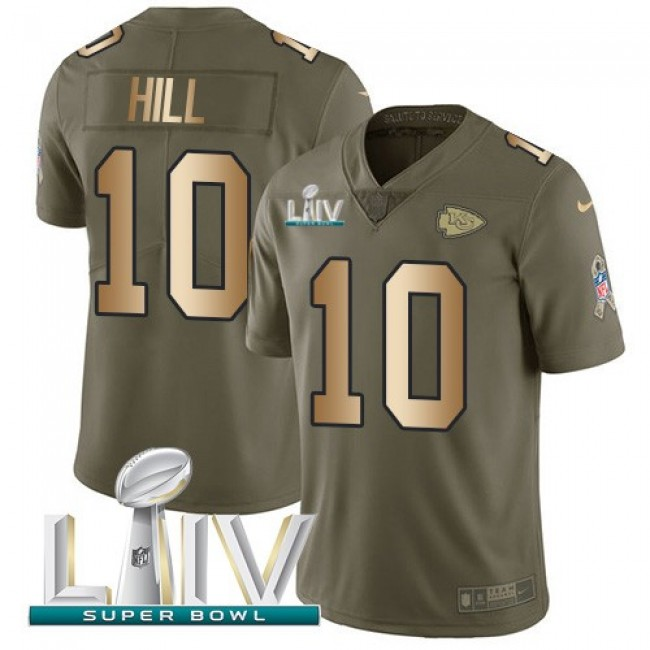 Nike Chiefs #10 Tyreek Hill Olive/Gold Super Bowl LIV 2020 Men's Stitched NFL Limited 2017 Salute To Service Jersey